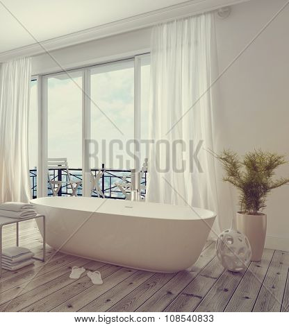 Modern stylish white bathroom interior with a free standing tub in front of floor-to-ceiling glass windows leading to a balcony, bright and airy daylight. 3d Rendering. stock photo