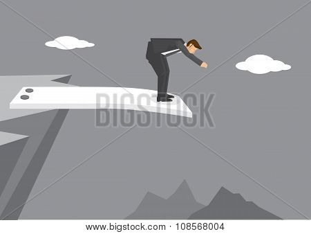 Cartoon man getting ready to jump from spring board at the edge of mountain cliff. Creative vector illustration on business concept using wordplay. stock photo