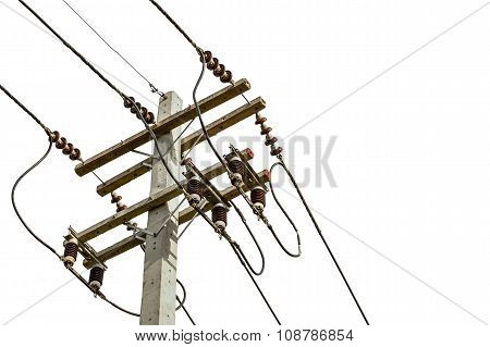 wire cables on electricity pole in the city for safety concept on white background stock photo