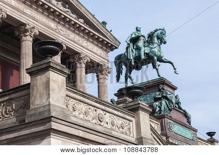 The equestrian statue of Frederick William IV in front of The Alte National galerie. Old National Gallery is a part of the Berlin National Gallery ** Note: Soft Focus at 100%, best at smaller sizes stock photo