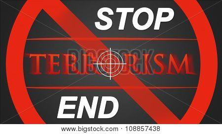 Terrorism illustration - white hairline cross in red lettering Stop / End stock photo