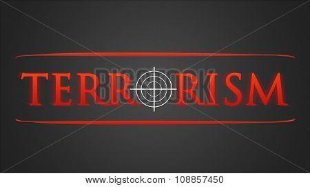 Terrorism illustration - white hairline cross in red lettering stock photo