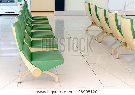 Green chair in airport Chitose Hokkaido Japan stock photo