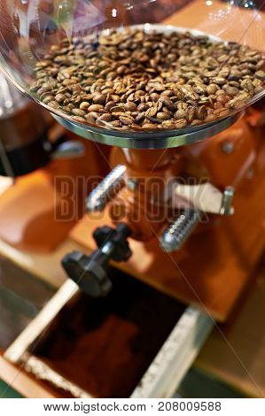 Coffee beans in a coffee grinder with millstones stock photo