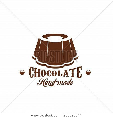 Chocolate dessert candy cafe icon for cafeteria or chocolate shop or bakery store. Vector choco cakes and pies, heart comfit and brownie or tiramisu torte of pudding for patisserie design template stock photo