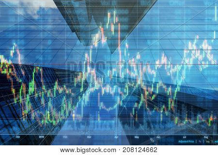 Stock market chart with information over the Modern business building glass of skyscrapers business economy trading and finance concept, 3D illustration