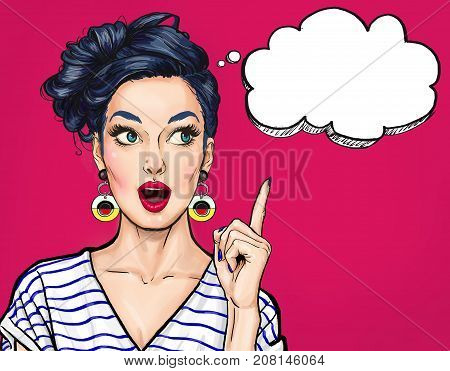 Surprised young sexy woman with open mouth. Pointing finger up. Comic woman. Amazed women. Pop Art girl. Beauty, vintage, retro, bubble, face, 1960s, comic, love, style, elegant, 1990s, wow, trendy