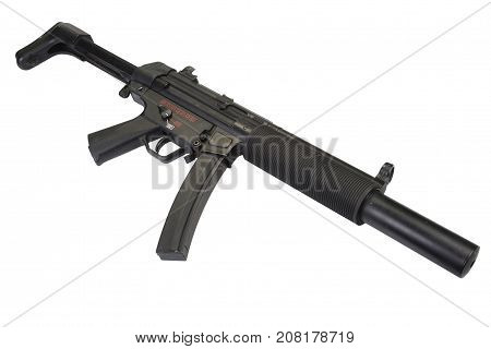 submachine gun with silencer isolated on white background stock photo