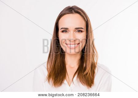 Close up formal portrait of successful gorgeous charming stunning entrepreneur standing on the pure white background with smooth skin nice straight silky hair stock photo