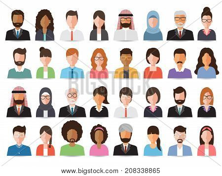 Group of working people business men and business women avatar icons. Vector illustration of flat design people characters.