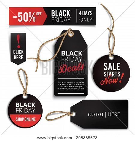 Realistic Black Friday sales tags set. Black friday design, label, sale, discount, advertising, marketing price tag