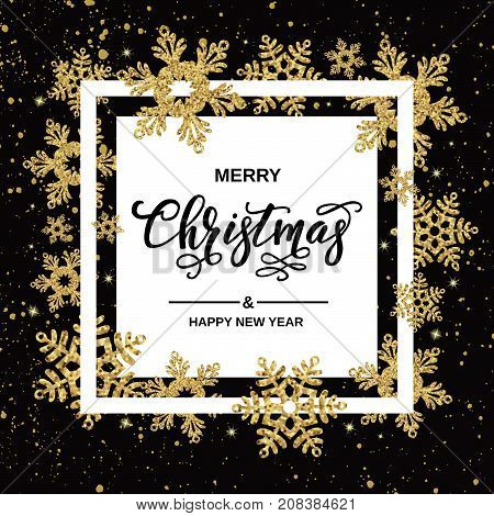 Merry Christmas Handwriting Script Lettering. Christmas Greeting  With Gold Snowflakes On Black Back
