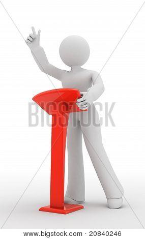 Speaker person. Orator, speaker, spokesman, speechmaker. 3d illustration. stock photo