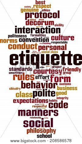 Etiquette word cloud concept. Vector illustration on white stock photo