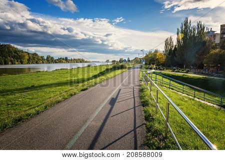 Riverbank of Vah river in Piestany (Slovakia) – bike route stock photo