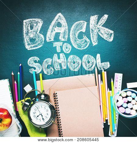 Chalk Text Back To School Alarm Clock Stationery Flat