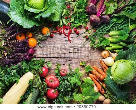 Assortment Fresh Organic Vegetables Frame Market