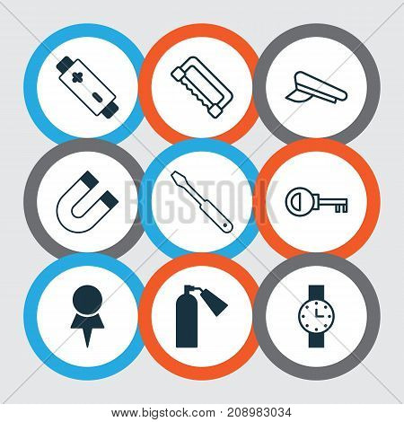 Equipment Icons Set. Collection Of Password, Alkaline, Location And Other Elements stock photo