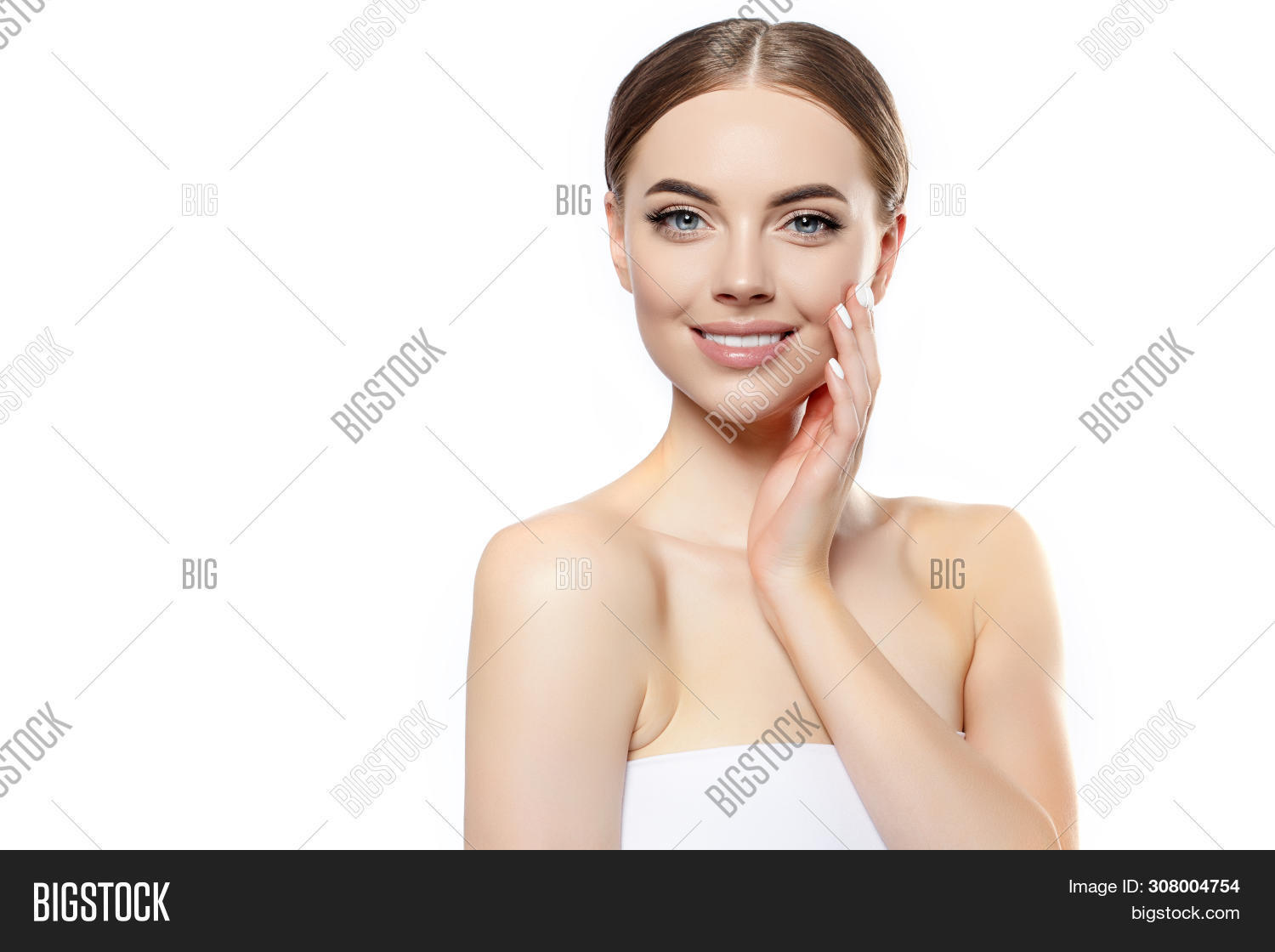 Beautiful Young Woman Smiling Face. Beauty Spa girl model with Clean Fresh Skin. Facial treatment .