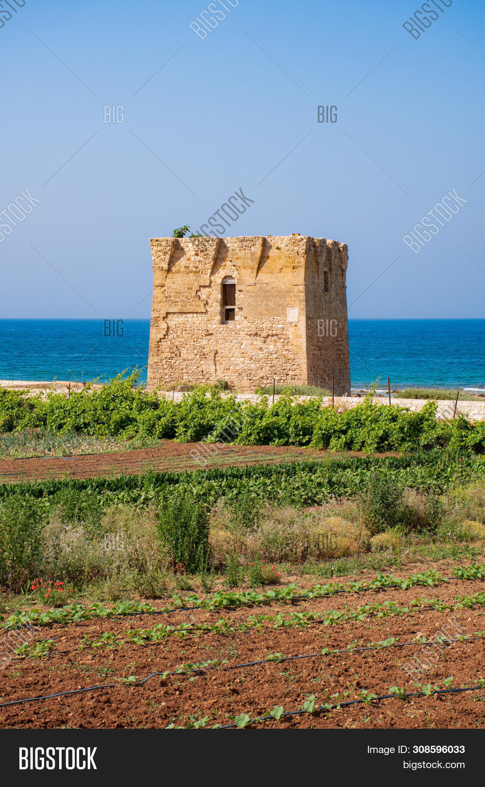 Baroque Watchtower, Beautiful Old Tower In San Vito, Polignano A Mare, Bari, Puglia, Italy With With