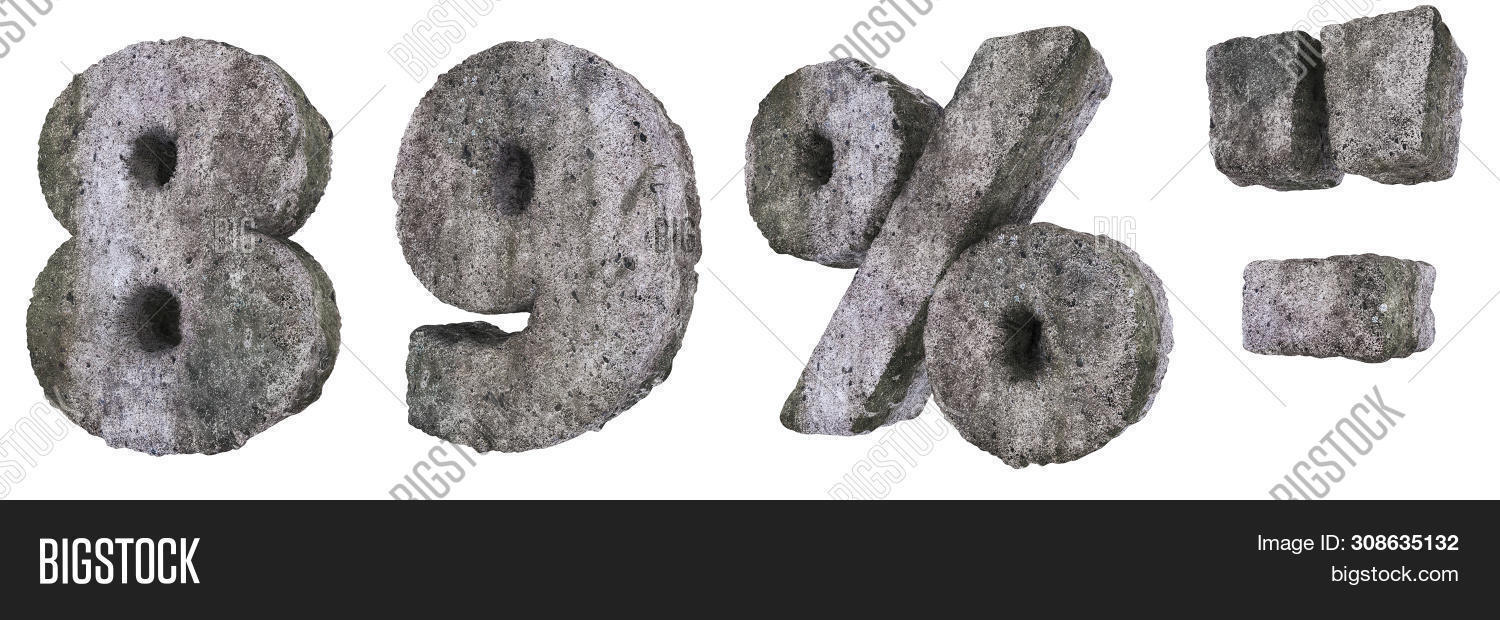 Abstract Old Concrete Figures and Signs Isolated on White Background. Stone Figures 8, 9, and Percen
