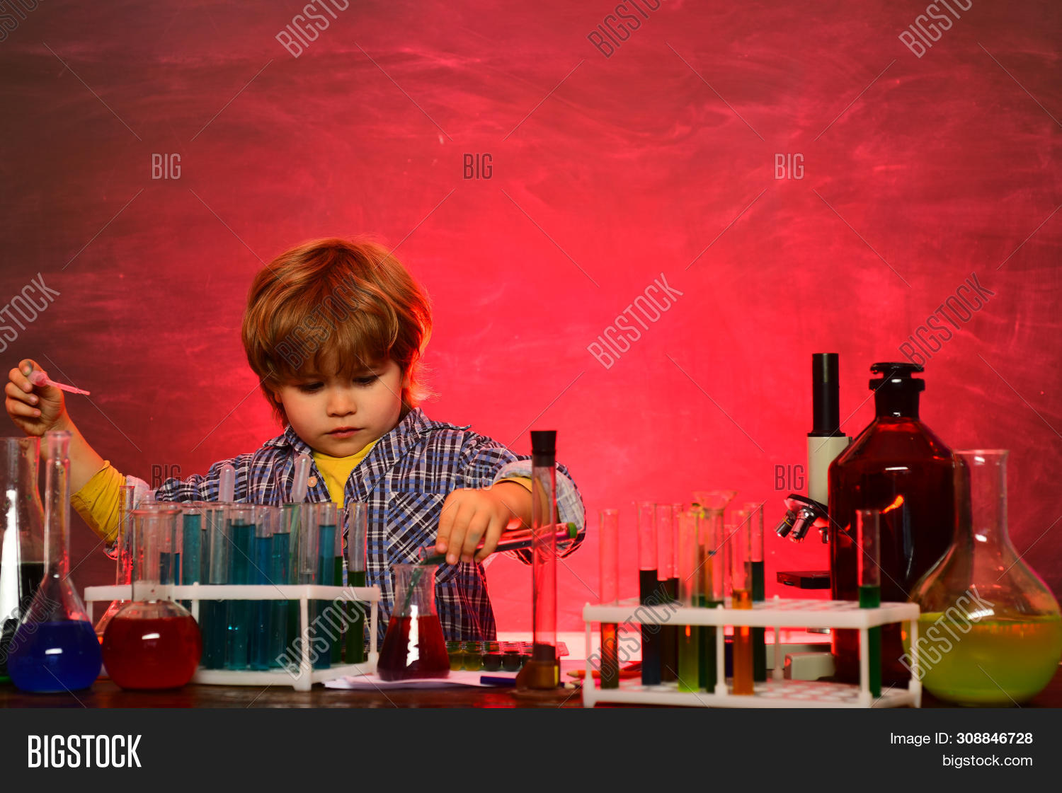 Back To School. First Grade. Elementary School. Little Kids Scientist Earning Chemistry In School La