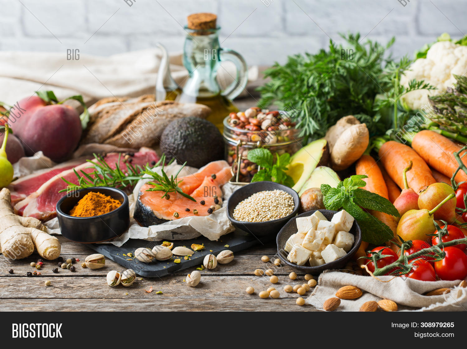 Balanced Nutrition Concept For Clean Eating Flexitarian Mediterranean Diet. Assortment Of Healthy Fo