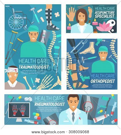 Traumatology, rheumatology, orthopedic surgery and acupuncture medicine doctors vector banners. Traumatologist, rheumatologist, orthopedist and acupuncturist medical hospital staff with instruments stock photo