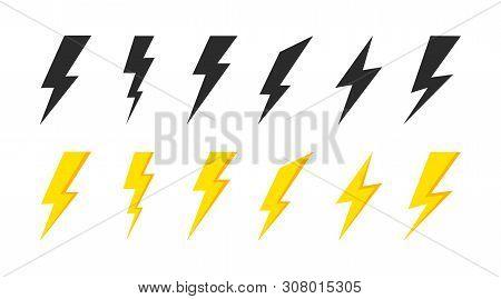 Lightning icons set. Thunder and Bolt. Flash icon. Lightning bolt. Black and yellow silhouette. Vector Illustration. stock photo