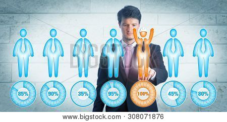 Concentrated young recruitment manager choosing the only worker with helmet in a lineup of candidates. Business concept for upward mobility, cyber sourcing, HR, career development, skill assessment. stock photo