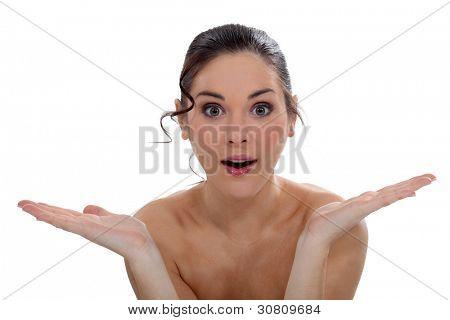 Amazed woman stock photo