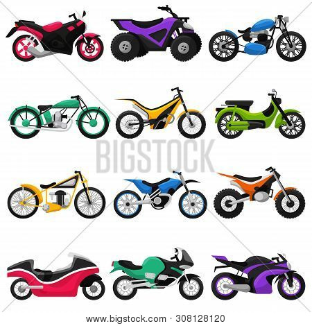 Motorcycle vector motorbike and motoring cycle ride transport chopper illustration motorcycling set of scooter motor bike isolated on white background stock photo
