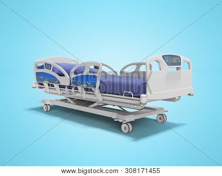 Concept blue hospital bed automatic with control panel on the side and front 3d render on blue background with shadow stock photo