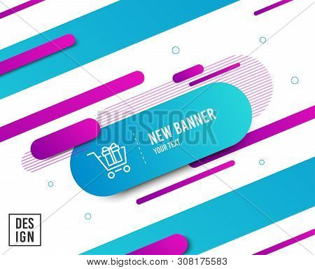 Shopping cart with Gift box line icon. Present or Sale sign. Birthday Shopping symbol. Package in Gift Wrap. Diagonal abstract banner. Linear shopping cart icon. Geometric line shapes. Vector stock photo