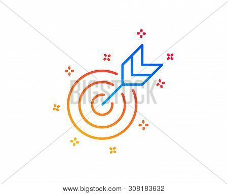Target line icon. Marketing targeting strategy symbol. Aim with arrows sign. Gradient design elements. Linear target icon. Random shapes. Vector stock photo