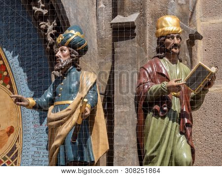 Astronomer and Chronicler Figures on the Astronomical Clock on the Old Town Hall in Old Town Square in Prague, Bohemia, Czech Republic - Famous Tourist Attraction stock photo