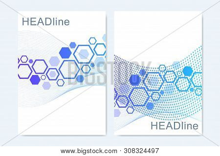 Modern vector templates for brochure, cover, banner, flyer, annual report, leaflet. Abstract art composition with connecting lines and dots. Wave flow. Digital technology, science or medical concept stock photo