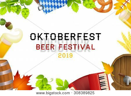 Oktoberfest beer festival 2019 lettering set and fest symbols. Festive banner design with beer mug, accordion on white background. Lettering can be used for invitations, advertising, announcements stock photo