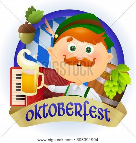 Oktoberfest lettering with beige streamer and man in green costume. Festive banner design with accordion on blue and white background. Lettering can be used for invitations, advertising, announcements stock photo