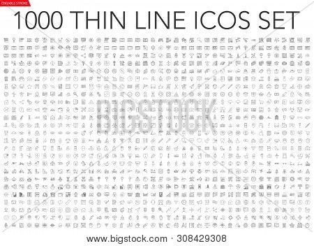 Set Of 1000 Thin Line Icons - Business, Finance, Office, Banking, Seo, Travel, Drugs, Dental, Medica