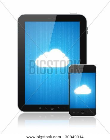 Cloud computing connection on digital tablet pc and modern smart phone. Conceptual image. Isolated on white. stock photo