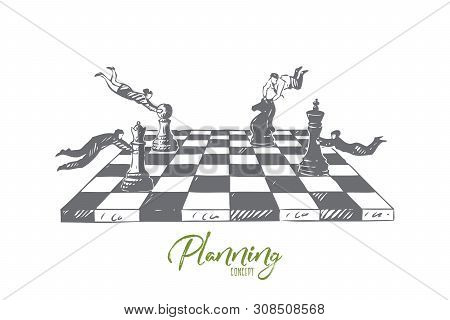 Planning concept sketch. Business plan, flying businesswomen and businessmen playing chess, team building exercise, brainstorm metaphor, business development banner. Isolated vector illustration stock photo