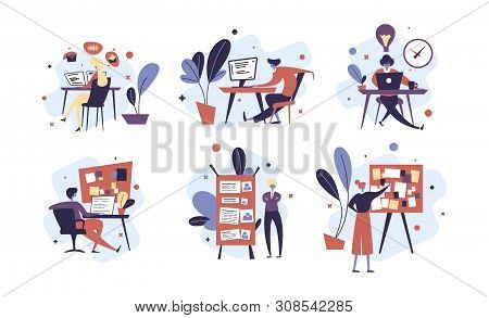 Collection of people successfully organizing their tasks and appointments. Set of scenes with efficient and effective time management and multitasking at work. Flat cartoon vector illustration. stock photo