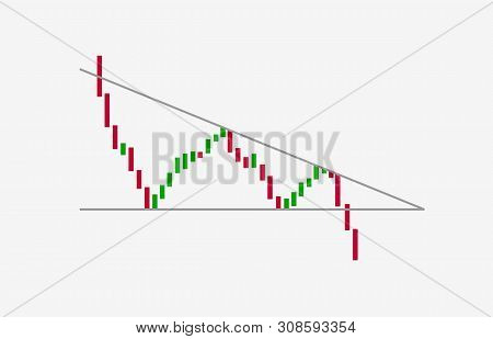 Descending triangle pattern figure technical analysis isolated on white. Vector stock and cryptocurrency exchange graph, forex analytics and trading market chart. Descending bearish triangle breakouts stock photo