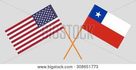 Chile and USA. The Chilean and United States of America flags. Official colors. Correct proportion. Vector illustration stock photo