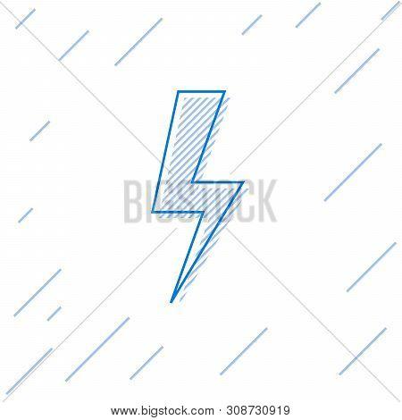 Blue Lightning bolt line icon isolated on white background. Flash icon. Charge flash icon. Thunder bolt. Lighting strike. Vector Illustration stock photo