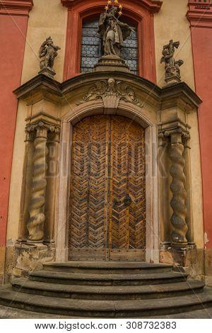 PRAGUE, CZECH REPUBLIC: Prague Castle, Czech Republic. Beautiful door. Prague Castle - an ancient symbol of the Czech State, official residence of President of Czech Republic. stock photo