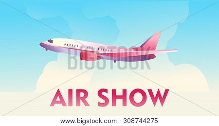 Concept poster of air show, flying sky across the sky, for demonstrating the strength and professionalism of pilots, template for advertising stock photo