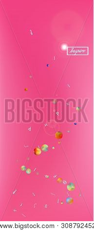 Fresh space and signs confetti. Background graphic. Usefull colorific illustration. Abstract universe and signs Ultra Wide background, vertical illustration. Colorful recent abstraction. Magenta color theme. stock photo