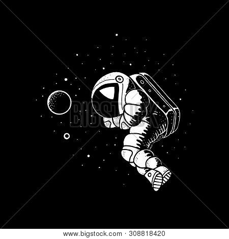 Astronaut floating in cosmos vector illustration. Planets, stars on background and spaceman in spacesuit white and black doodle art stock photo